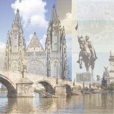 Paper House Productions - Prague Collection - 12 x 12 Paper - Prague Collage at Scrapbook.com