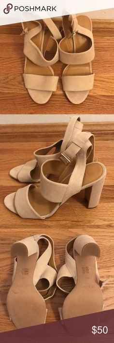 J. Crew Factory Suede Strappy Heeled Sandals Never been worn. Color: Dusty Ginger Size: 9.5 Heel height: 4 in. J. Crew Shoes Sandals