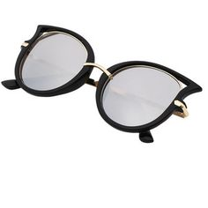 Cutout Cat Eye Silver Lenses Sunglasses