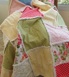 Rag Quilt Patchwork Cottage Chic by Snipitup on Etsy, $79.00