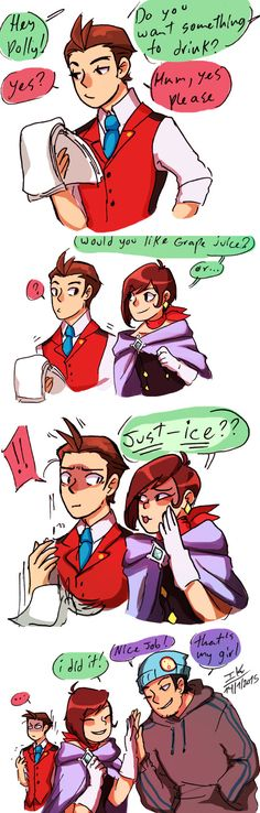 Phoenix Wright and Trucy Wright making some bad puns