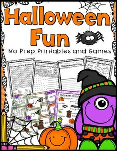 Halloween Worksheets (Counting Coins, Measuring, Addition/Subtraction, Vowels…