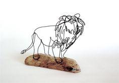 Lion Wire Sculpture Wire Art Minimal Wire Design by WiredbyBud