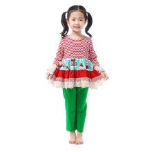 Girls Clothing Sets New Christmas Outfits Girls Toddler Girl Clothing Children's Boutique Clothing Suits Cotton Kids Wear Lace(China (Mainland))