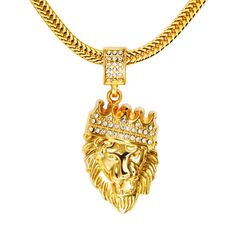 3a8329f783ba4 Men 18k Real Gold Plated Crown Lion King Pendant Necklace,Cz Inlay,with FREE