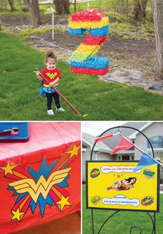 A Wonder Woman Birthday Party with a skyline photo booth, Kryptonite rock candy, super hero lollipops, comic book tablescapes + Wonder Woman birthday outfit Wonder Woman Birthday, Wonder Woman Party, Birthday Woman, Husband Birthday, Birthday Event Ideas, Kids Birthday Party Invitations, Baby Birthday, Birthday Parties, Girl Superhero Party