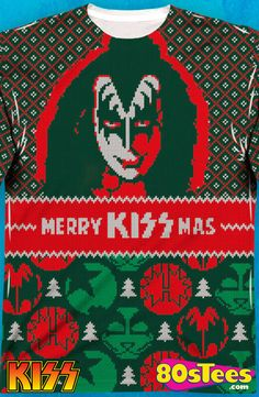 Kiss Sublimated Faux Christmas Sweater: Kiss Mens Long Sleeve Shirt Celebrate the holidays wearing this cool design with great art and illustration.