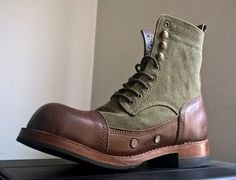 COFRADÍA vintage leather and canvas boots for hot weather - - Leather Boots, Leather Men, Vintage Leather, Vintage Boots, Cool Boots, Men's Boots, Horse Riding Boots, Jungle Boots, Mens Boots Fashion