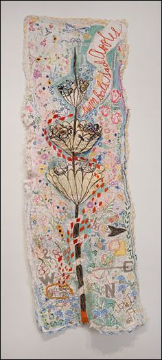 "Rebecca Ringquist.... ""Sleeping Arrangements"" 2011. 19x56. Embroidery and machine stiching on found fabric."