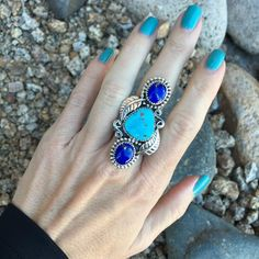 Lapis and Blue Ridge Turquoise 3 Stone Leaf and Scoll Ring | Unique & Stylish Sterling Silver Exotic Stone Jewelry