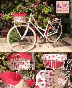 Red Polka Dot & heart Reversible Bike Basket Liner - Shop bag - MADE TO ORDER. €27,00, via Etsy.