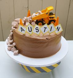 little boy digger birthday cake decoration