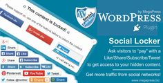 Social Locker for WordPress . The Social Locker plugin is a set of social buttons that lock your content and ask your users to pay with a share/like/tweet/1 your website to get access to hidden content, to get discount, to download or so. The plugin will help you to get more likes, tweets, google, subscribers, customers and