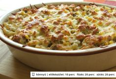 Egyszerű tejszínes rakott penne Meat Recipes, Pasta Recipes, Dinner Recipes, Junk Food, Ceviche, Avocado Tatar, Top 5, One Pot Meals