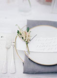 Gray and Blush Place Setting   Julie Paisley Photography   http://heyweddinglady.com/southern-spring-blossom-wedding-inspiration/