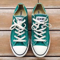 Teal WOMANS Low Top Converse Worn but still in great condition! Ships Immediately! Converse Shoes Sneakers