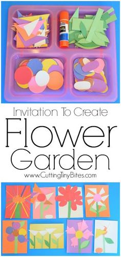 Invitation To Create: Flower Garden. Open ended creative spring paper craft for kids. Great for fine motor development. Perfect for toddlers and preschoolers.