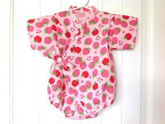 Baby Romper Jinbei Kimono with Head band, Onesie, Japanese Ripple fabric, Pink, Strawberry, Apple, Flower