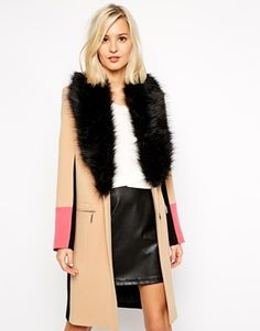 River Island Color Block Coat With Faux Fur Collar - love this.