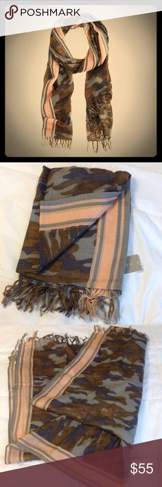 J. Crew (Retail) Camo Wool Scarf New with tags! Sold out J. Crew retail version, camo wool scarf. Beautiful camo print trimmed with an unexpected pink and gray boarder, giving it a fun and girly touch. 100% wool. J. Crew Accessories Scarves & Wraps