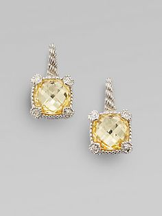 Judith Ripka Canary Crystal, White Sapphire & Sterling Silver Cushion Drop Earrings