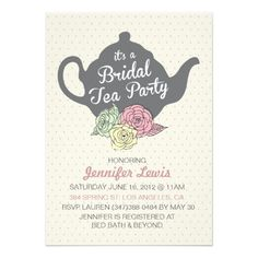 Bridal Tea Party Invite Invitations Shower Invites Personalized