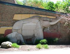 In 1955-56 Shreckengost sculpted two massive ceramic relief murals, Mastadon and Mammothfor the exterior walls of the Cleveland Zoo's Pachyderm Building. The pieces were removed in 2008 to be reinstalled near the zoo's entrance. The sculptures were created from 32 tons of terra cotta and measure 25' long, with one measuring 12' tall and the other 13.5' tall.