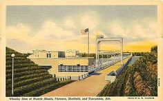 Muscle Shoals Alabama AL 1938 Wheeler Dam & Power House Antique Vintage Postcard