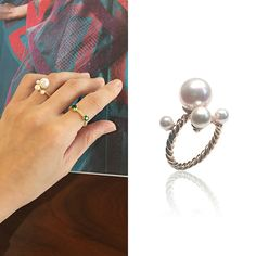 [RARO] Pearl silver + gold plated ring