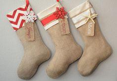 Christmas Stocking Burlap Embellished with Gold by TwentyEight12