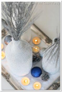 Winter Centerpiece from wine bottles and epsom salt
