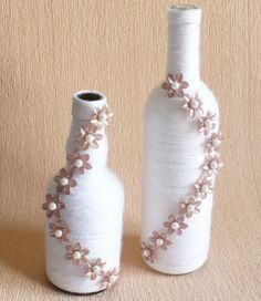 white twine-wrapped with flower/pearl embellishments