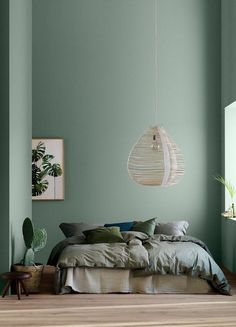 Modern Earthy Home Decor: Soothing bohemian bedroom with soft pistachio green blue walls and rattan hanging lamp Home Decor Bedroom, Luxury Decor, Decor Interior Design, Bedroom Trends, Bedroom Green, Home Decor, Bedroom Colors, Earthy Home Decor, Interior Design Bedroom