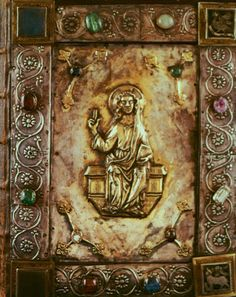 Cover of a Carolingian gospel book, Tours, c now in the British Library Medieval Books, Medieval Manuscript, Medieval Art, Illuminated Manuscript, Antique Books, Vintage Books, Four Gospels, Carolingian, Forever Book