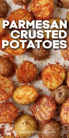 This Parmesan Crusted Potato recipe is super easy to make. Only 10 minutes of prep time, then pop in the oven while the main dish is cooking! Potato Sides, Potato Side Dishes, Vegetable Side Dishes, Vegetable Recipes, Parmesan Crusted Potatoes, Crispy Potatoes, Easy Oven Roasted Potatoes, Potatoes In Oven, Ranch Potatoes