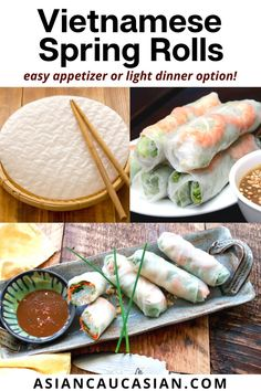 Here's the great thing about these Vietnamese Spring Rolls — you can fill them with just about anything! I've used shrimp in this recipe, but chicken is a perfectly good substitute. Vegetarian rolls are also very tasty. Feel free to experiment! Perfect as a healthy appetizer or light dinner recipe. Make these easy spring rolls the night before to enjoy for lunch too! Asian Appetizers, Light Appetizers, Healthy Appetizers, Easy Summer Meals, Summer Recipes, Easy Spring Rolls, Healthy Asian Recipes, Vietnamese Spring Rolls, Fusion Food