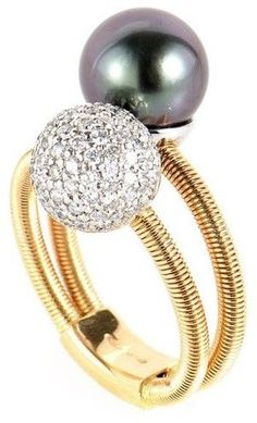 18K Rose and White Gold Diamond & Pearl Ring