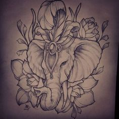 Now I already have an elephant tattoo planned to be put on my thigh, but this pic might change my mind. I love this...Elephant head tattoo concept by christian
