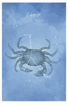 Astronomy art, Cancer, the Crab constellation, luminescent stars hand-embellished print