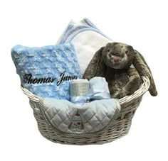 Namely Newborns - Personalized Baby Boy Basket in Gray with #baby blanket, towel, burps and #jellycatbunny $150
