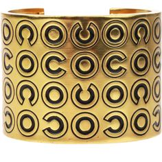 Now $695 - Shop this and similar Chanel bracelets & bangles - Make a statement in this gorgeous Chanel Gold Wide Coco Cuff Black ! This cuff is featured in gold...