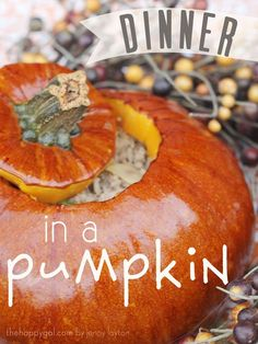 Looking for a fun and yummy fall meal to make for your family? If our Halloween dinner didn& do the trick, then you& love this Dinner in a Pumpkin with Pumpkin Recipes, Fall Recipes, Holiday Recipes, Dinner Recipes, Dinner In A Pumpkin Recipe, Halloween Dinner, Halloween Ideas, Fall Treats, Pumpkin Spice