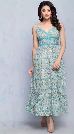 #DayDress #SummerDress #Summer #Fashion #Cotton #BlockPrint #Tiered #Turquoise #women #dress #casual #chic #EasyStyle #Fabindia