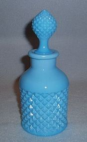 English Hobnail Antique Blue Milk Glass Cologne Bottle