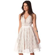 White lace midi dress with contrast lining and mesh neckline