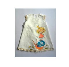 Lace Linen Girl dress - vintage dress - girls white linen dress - painted dress - Hand painted - ONORDER ONLY - children clothing