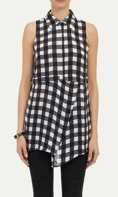 Marissa Webb black and white gingham silk sleeveless Paloma blouse styled with a side-wrapped hem.