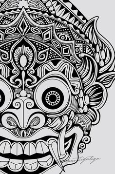 On behance god tattoos, life tattoos, body art tattoos, tatoos, barong bali Mask Drawing, Doodle Art Drawing, Mandala Drawing, Art Drawings Sketches, Mandala Art, Tattoo Drawings, Aztec Drawing, Flash Art Tattoos, Leg Tattoos