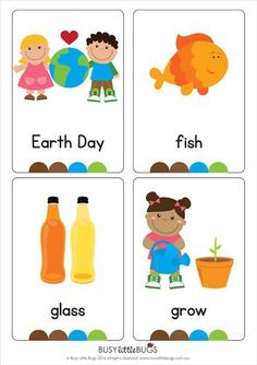 "Our ""Earth Day Vocabulary/ Flash Cards"" are a great early literacy learning tool for your children or classroom this Earth Day. All images are of high quality.  There are 24 printable flash cards in this set, the words included are:  Birds, cans, compost, Earth, Earth Day, fish, glass, grow, habitat, lights, paper, plant, plastic, pollution, recycle, recycling bin, reduce, reuse, smog, sun, trash can/rubbish bin, trees, water, wildlife."