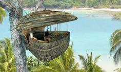 Tailândia  - Casulo construído em cima de uma árvore, no Hotel Soneva Kiri. As pessoas podem comer e até mesmo tirar uma cochilo apreciando uma vista surreal.